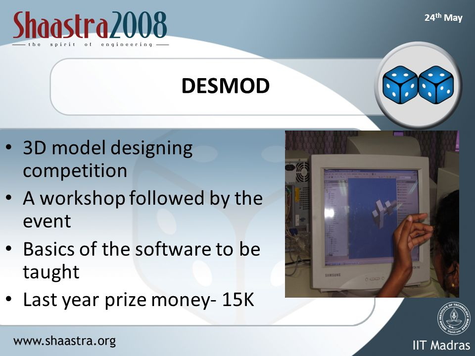 24 th May DESMOD 3D model designing competition A workshop followed by the event Basics of the software to be taught Last year prize money- 15K