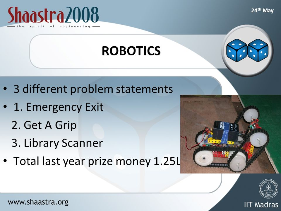 24 th May ROBOTICS 3 different problem statements 1.
