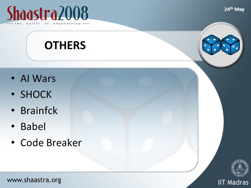 24 th May OTHERS AI Wars SHOCK Brainfck Babel Code Breaker