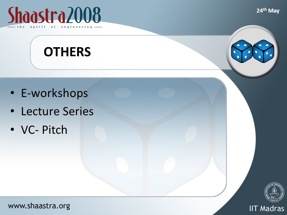 24 th May OTHERS E-workshops Lecture Series VC- Pitch