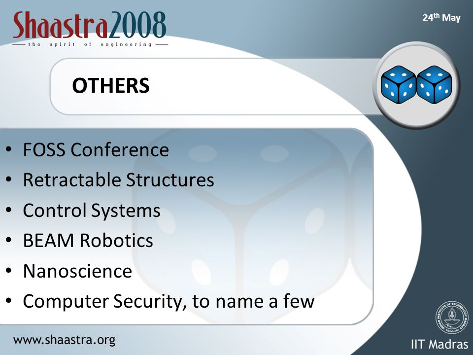 24 th May OTHERS FOSS Conference Retractable Structures Control Systems BEAM Robotics Nanoscience Computer Security, to name a few
