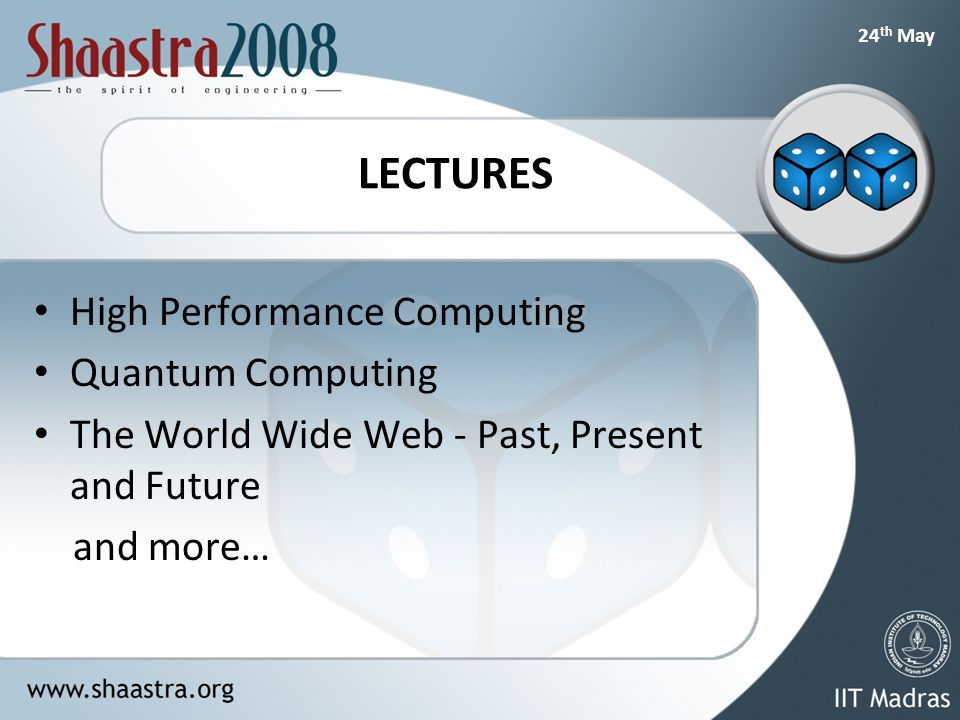 24 th May LECTURES High Performance Computing Quantum Computing The World Wide Web - Past, Present and Future and more…