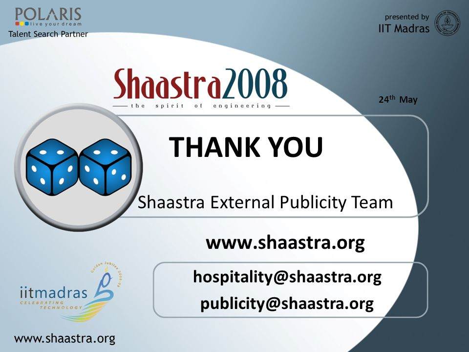 24 th May   THANK YOU Shaastra External Publicity Team