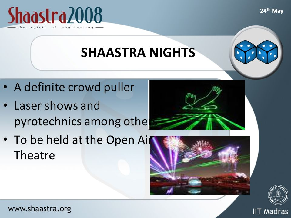 24 th May SHAASTRA NIGHTS A definite crowd puller Laser shows and pyrotechnics among others To be held at the Open Air Theatre