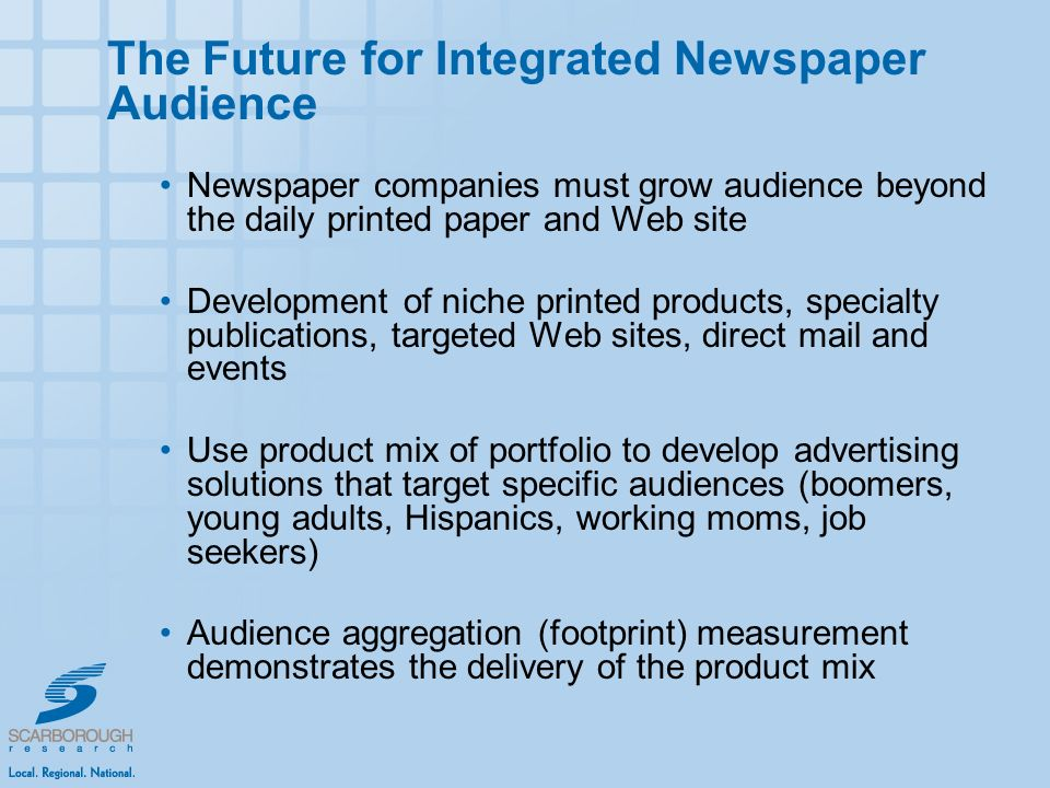 The Future for Integrated Newspaper Audience Newspaper companies must grow audience beyond the daily printed paper and Web site Development of niche printed products, specialty publications, targeted Web sites, direct mail and events Use product mix of portfolio to develop advertising solutions that target specific audiences (boomers, young adults, Hispanics, working moms, job seekers) Audience aggregation (footprint) measurement demonstrates the delivery of the product mix