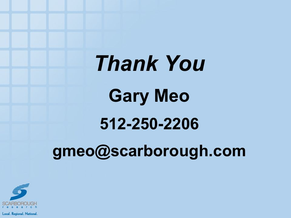 Thank You Gary Meo 512-250-2206 gmeo@scarborough.com