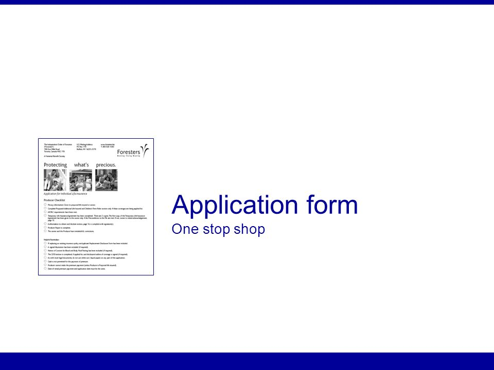 Application form One stop shop