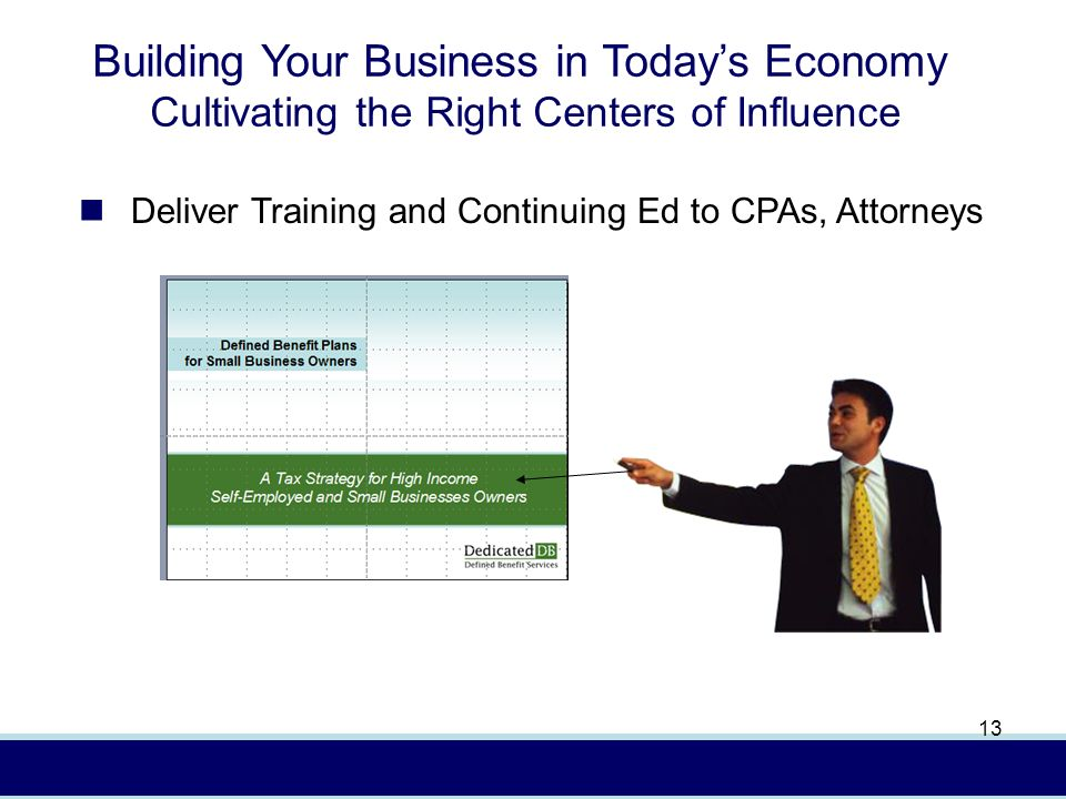 In (4/08) AXA Advisors, LLCFor presentation to financial professionals only 13 Building Your Business in Todays Economy Cultivating the Right Centers of Influence Deliver Training and Continuing Ed to CPAs, Attorneys