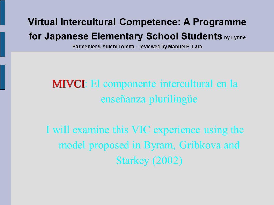 MIVCI MIVCI: El componente intercultural en la enseñanza plurilingüe I will examine this VIC experience using the model proposed in Byram, Gribkova an
