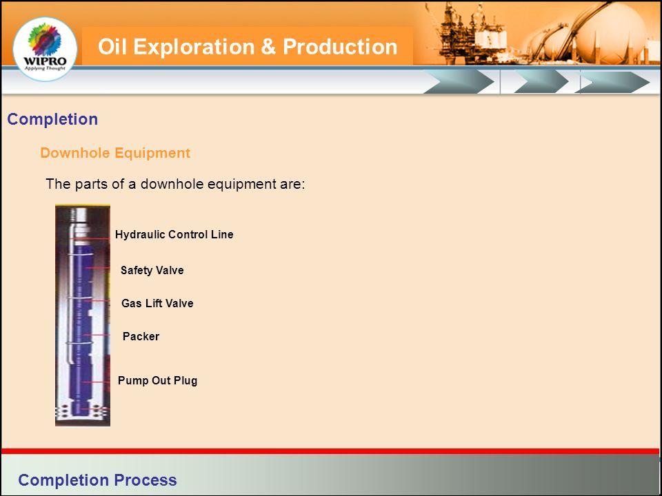 Oil Exploration & Production Downhole Equipment The parts of a downhole equipment are: Completion Gas Lift Valve Safety Valve Hydraulic Control Line P