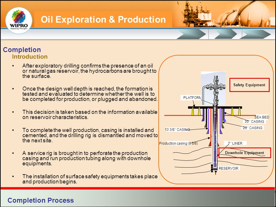 Oil Exploration & Production Well completion creates a dependable pathway to the surface for the hydrocarbons.
