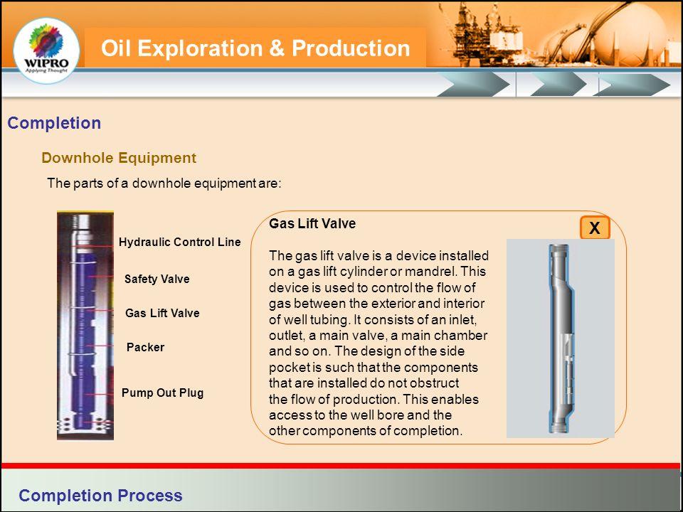 Oil Exploration & Production Downhole Equipment The parts of a downhole equipment are: Completion Gas Lift Valve The gas lift valve is a device instal