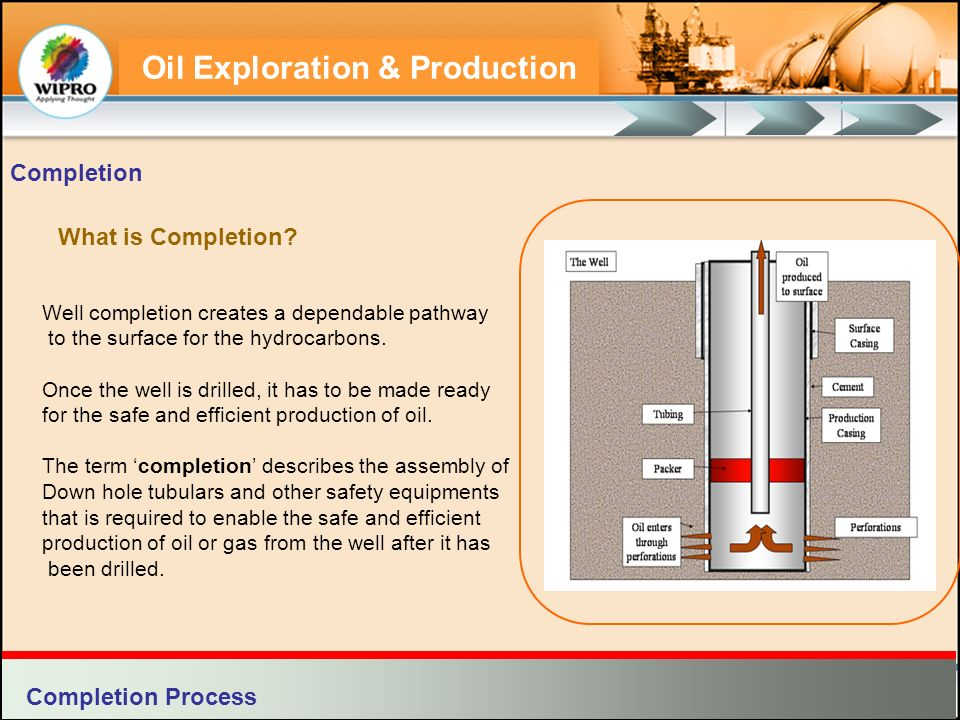 Oil Exploration & Production Types of Completion The types of completion include: Natural Completions Natural completions are those in which little or no stimulation is required for production.