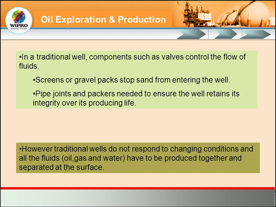 Oil Exploration & Production In a traditional well, components such as valves control the flow of fluids. Screens or gravel packs stop sand from enter