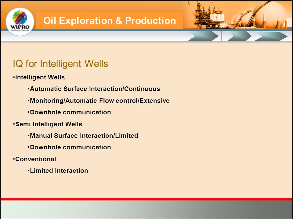 Oil Exploration & Production IQ for Intelligent Wells Intelligent Wells Automatic Surface Interaction/Continuous Monitoring/Automatic Flow control/Ext