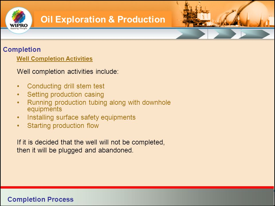 Oil Exploration & Production Each well head section has three components: Casing Bowl Casing Hanger Tubing Head Surface Control Equipments Completion Components of a Well Head