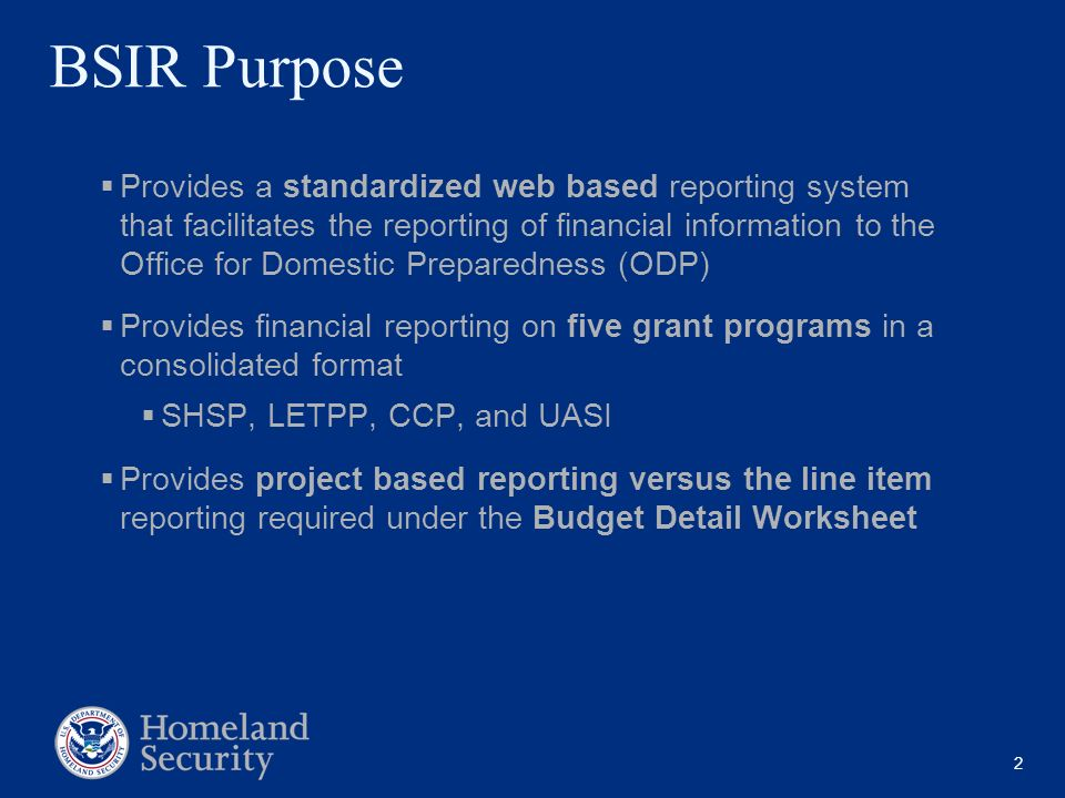 2 BSIR Purpose Provides a standardized web based reporting system that facilitates the reporting of financial information to the Office for Domestic P