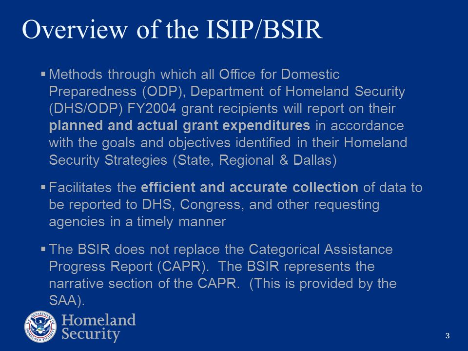 3 Overview of the ISIP/BSIR Methods through which all Office for Domestic Preparedness (ODP), Department of Homeland Security (DHS/ODP) FY2004 grant r