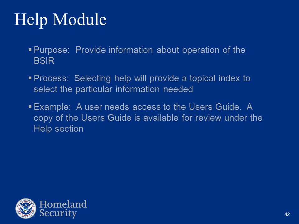 42 Help Module Purpose: Provide information about operation of the BSIR Process: Selecting help will provide a topical index to select the particular