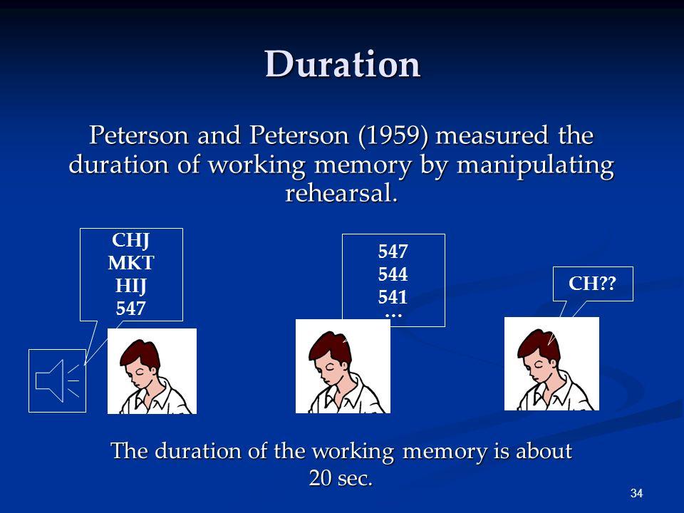 33 Chunking F-B-I-T-W-A-C-I-A-I-B-M The capacity of the working memory may be increased by chunking. FBI TWA CIA IBM 4 chunks