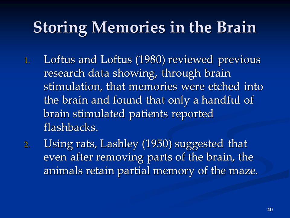 39 Memory Stores FeatureSensoryMemory Working Memory LTM EncodingCopyPhonemicSemantic CapacityUnlimited 7±2 Chunks Very Large Duration 0.25 sec. 20 se
