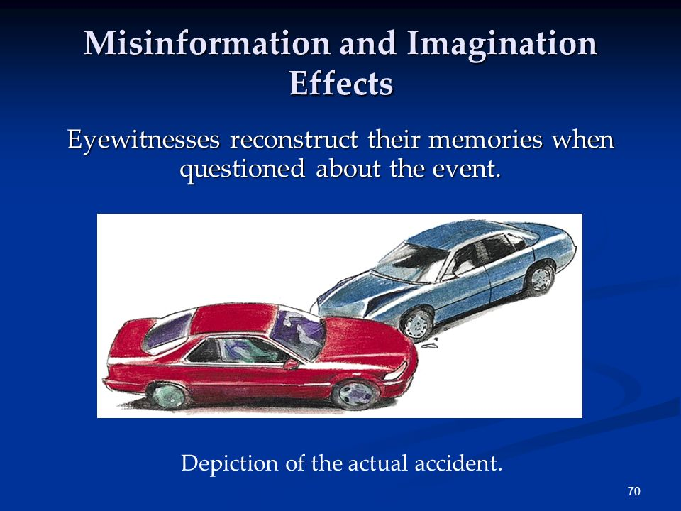 69 Memory Construction While tapping our memories, we filter or fill in missing pieces of information to make our recall more coherent. Misinformation