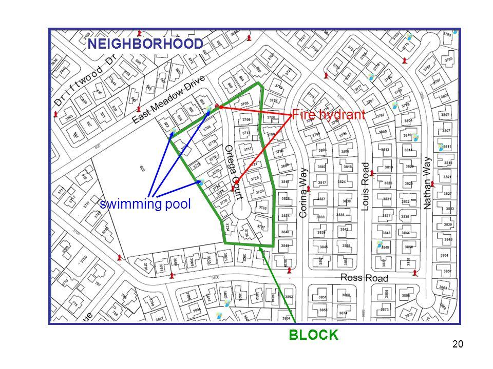 20 swimming pool BLOCK Fire hydrant NEIGHBORHOOD