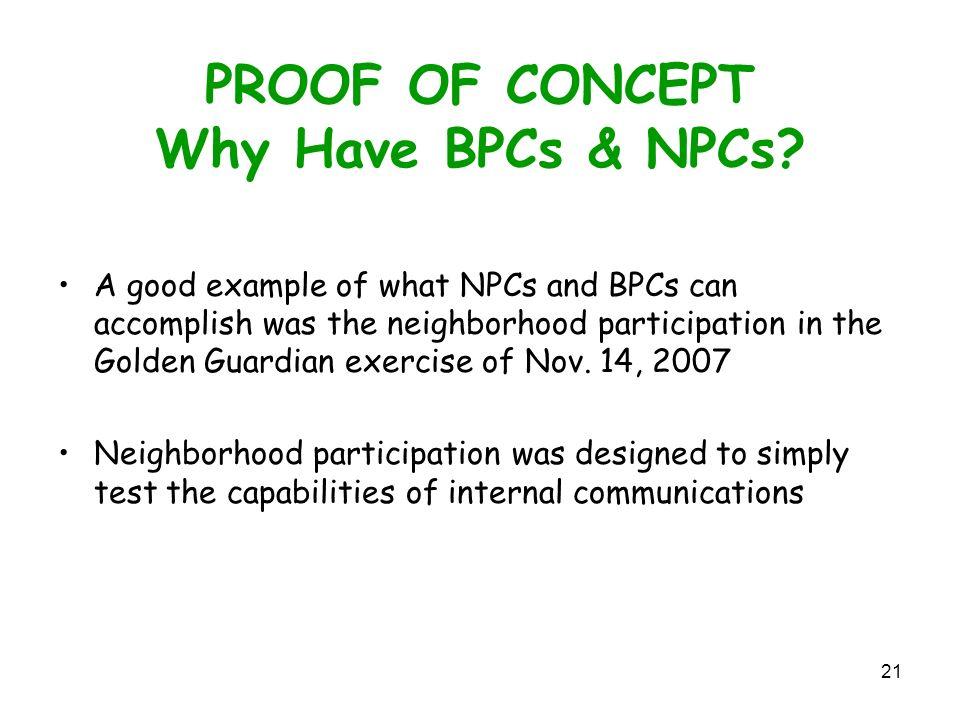 21 PROOF OF CONCEPT Why Have BPCs & NPCs.