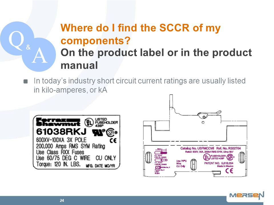 24 QA & In todays industry short circuit current ratings are usually listed in kilo-amperes, or kA On the product label or in the product manual Where