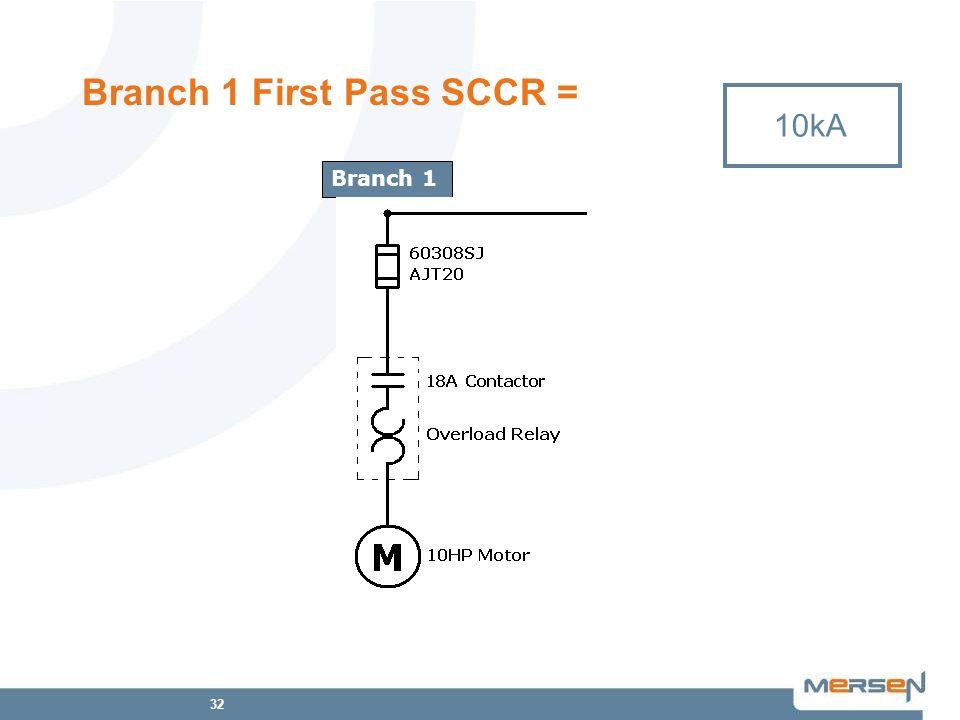 32 Branch 1 First Pass SCCR = 10kA 200kA Branch 1 10kA