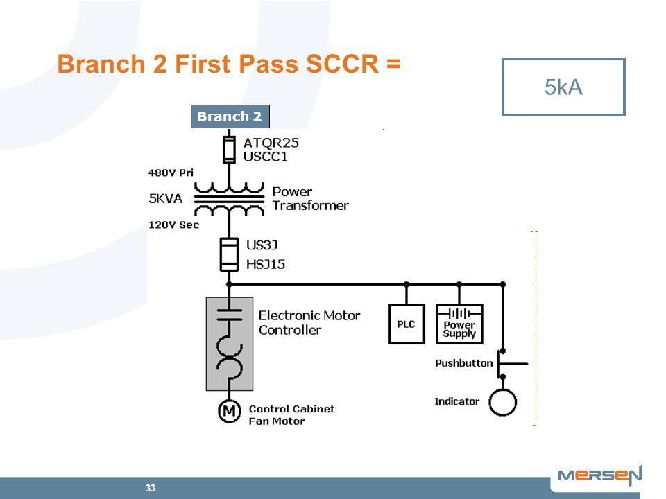 33 Branch 2 First Pass SCCR = 5kA 200kA NA Control Circuit Branch 2 200kA