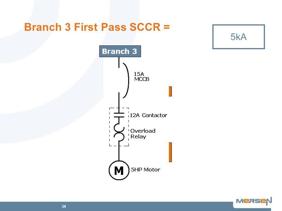 34 Branch 3 First Pass SCCR = 5kA Branch 3 SB4.1 5kA 65kA