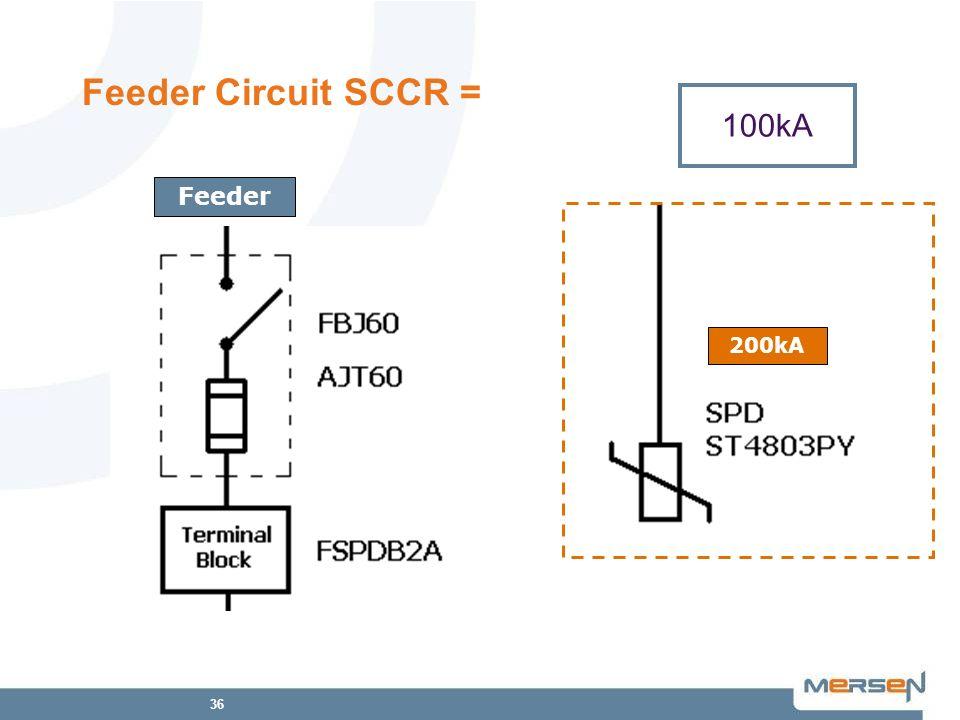 36 Feeder Circuit SCCR = 100kA Feeder 100kA 200kA