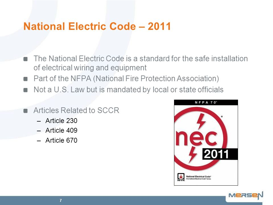 7 National Electric Code – 2011 The National Electric Code is a standard for the safe installation of electrical wiring and equipment Part of the NFPA