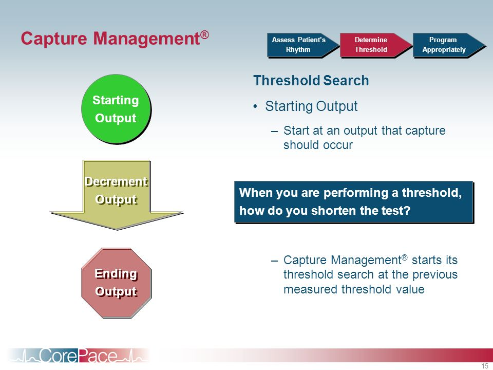 15 Capture Management ® Threshold Search Starting Output –Start at an output that capture should occur –Capture Management ® starts its threshold sear