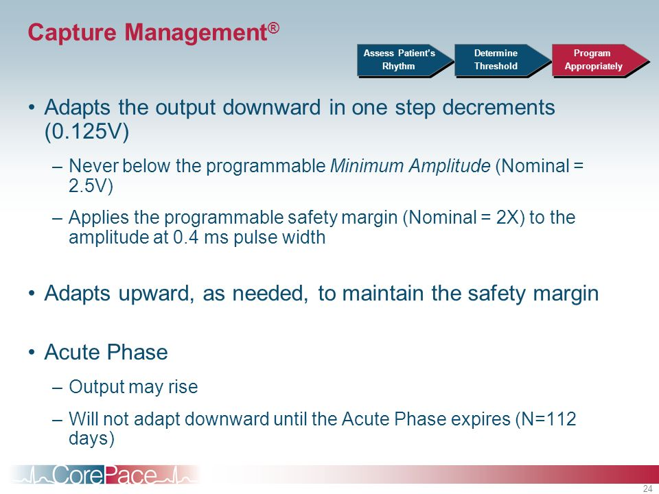 24 Capture Management ® Adapts the output downward in one step decrements (0.125V) –Never below the programmable Minimum Amplitude (Nominal = 2.5V) –A