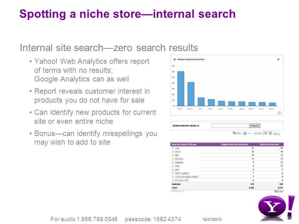 12/31/2013 For audio 1 866.788.0546 passcode: 1682 4374 Spotting a niche storeinternal search Internal site searchzero search results Yahoo.