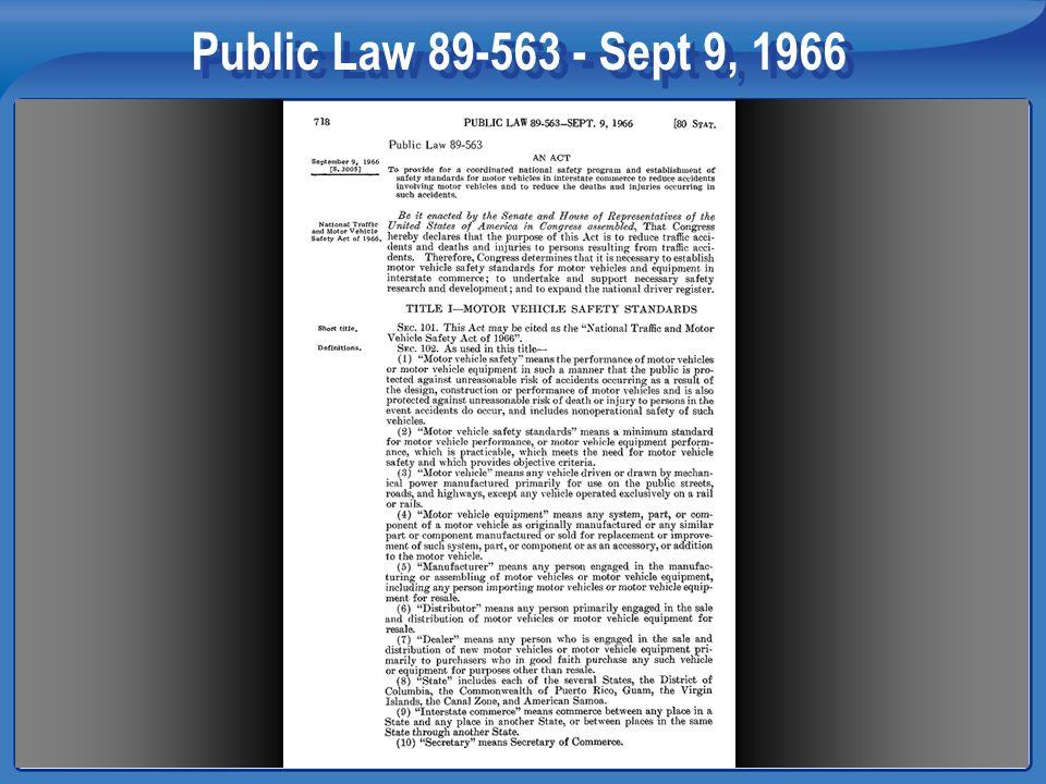 Public Law 89-563 - Sept 9, 1966