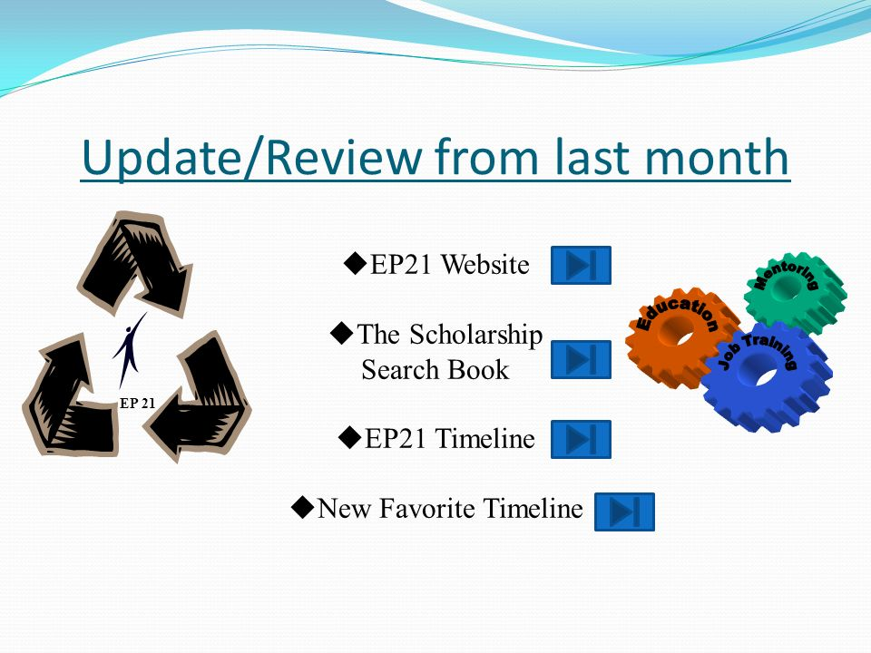 Update/Review from last month EP 21 EP21 Website The Scholarship Search Book EP21 Timeline New Favorite Timeline