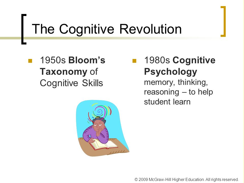 © 2009 McGraw-Hill Higher Education. All rights reserved. The Cognitive Revolution 1950s Blooms Taxonomy of Cognitive Skills 1980s Cognitive Psycholog