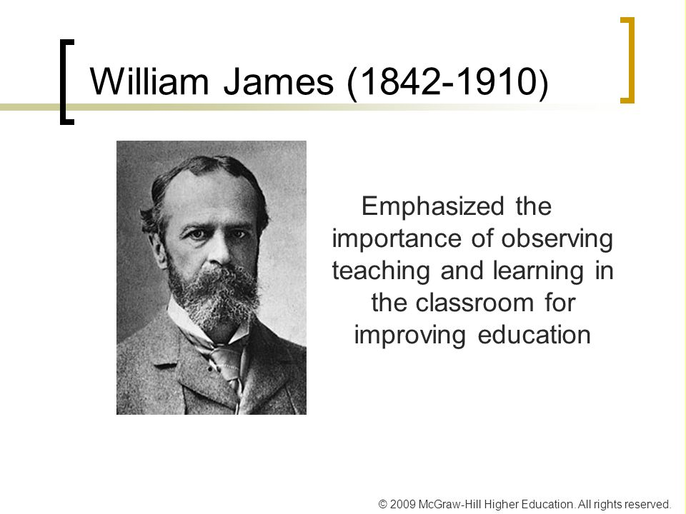 © 2009 McGraw-Hill Higher Education. All rights reserved. William James (1842-1910 ) Emphasized the importance of observing teaching and learning in t