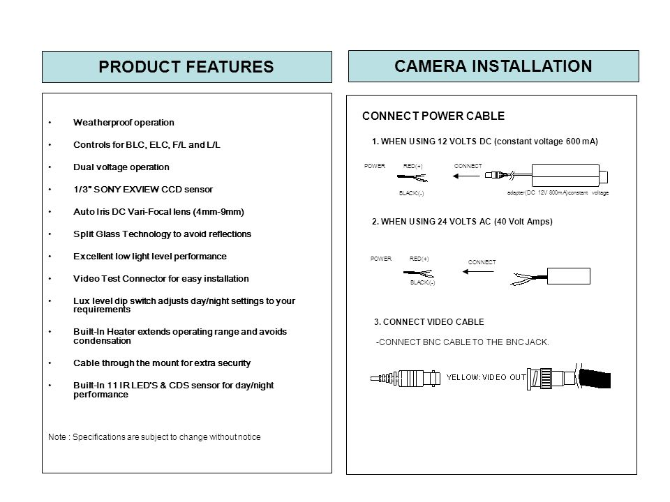 CONNECT POWER CABLE 1.WHEN USING 12 VOLTS DC (constant voltage 600 mA) 2.