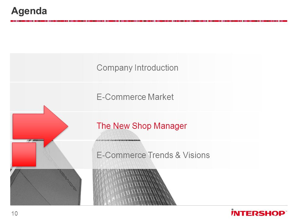 Company Introduction Agenda 10 E-Commerce Trends & Visions E-Commerce Market The New Shop Manager