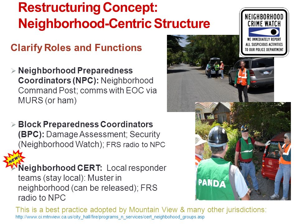 NH CERT Chain of Command Neighborhood Preparedness Coordinator = NH IC Block Preparedness Coordinators Palo Alto City (Mobile) Emergency Operations Center ((M)EOC) Neighborhood CERTs Group Leader (GL) On-Scene Public Safety Official NH CERTs follow NPC direction in peace time role of preparation & mitigation.