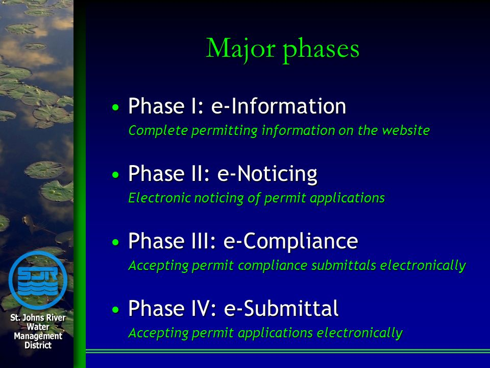Major phases Phase I: e-InformationPhase I: e-Information Complete permitting information on the website Phase II: e-NoticingPhase II: e-Noticing Elec