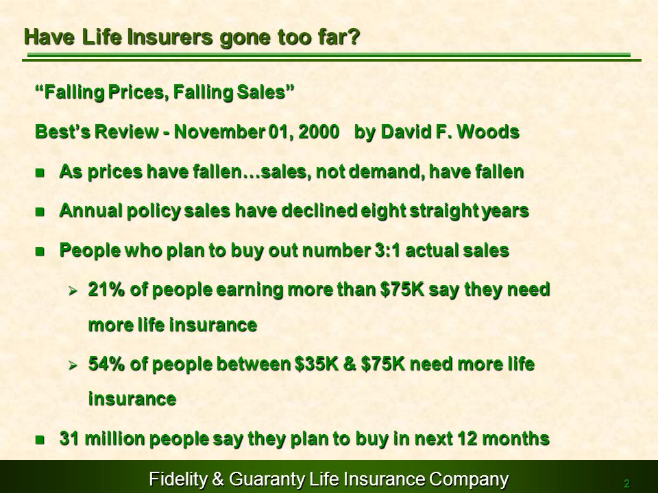 Fidelity & Guaranty Life Insurance Company 2 Falling Prices, Falling Sales Bests Review - November 01, 2000 by David F. Woods As prices have fallen…sa