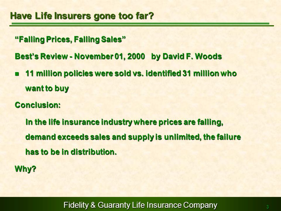 Fidelity & Guaranty Life Insurance Company 3 Falling Prices, Falling Sales Bests Review - November 01, 2000 by David F. Woods 11 million policies were