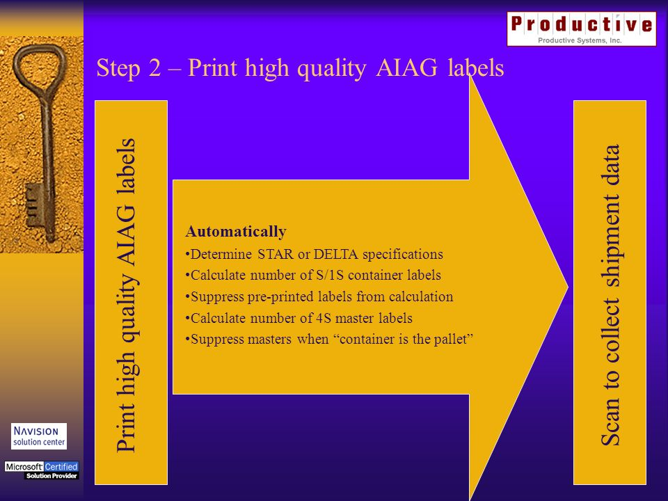 Step 2 – Print high quality AIAG labels Print high quality AIAG labelsScan to collect shipment data Automatically Determine STAR or DELTA specifications Calculate number of S/1S container labels Suppress pre-printed labels from calculation Calculate number of 4S master labels Suppress masters when container is the pallet
