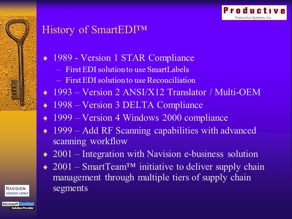 History of SmartEDI Version 1 STAR Compliance –First EDI solution to use SmartLabels –First EDI solution to use Reconciliation 1993 – Version 2 ANSI/X12 Translator / Multi-OEM 1998 – Version 3 DELTA Compliance 1999 – Version 4 Windows 2000 compliance 1999 – Add RF Scanning capabilities with advanced scanning workflow 2001 – Integration with Navision e-business solution 2001 – SmartTeam initiative to deliver supply chain management through multiple tiers of supply chain segments