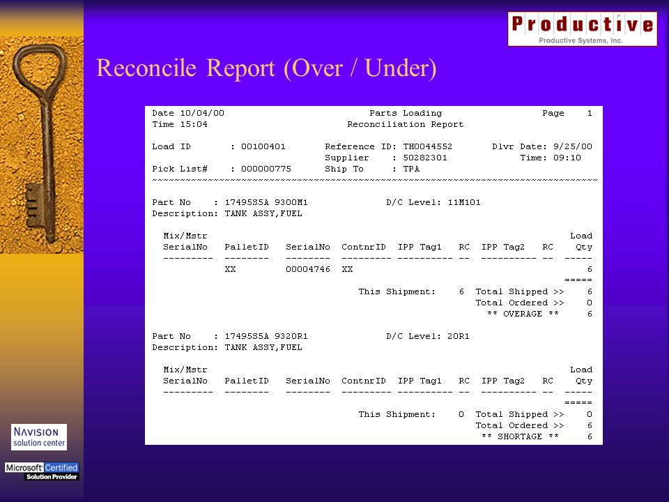 Reconcile Report (Over / Under)